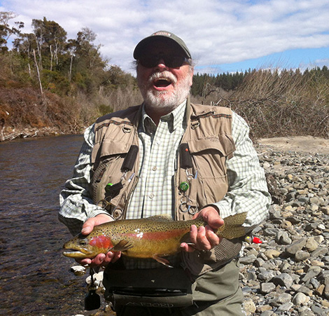 Don holding a Rainbow trout