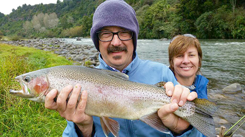Douglas and Kate form Melbourne stayed at the wonderfull Tongariro Lodge in Turangi for their trout  fishing holiday.