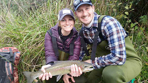 Newly weds from New York very much enjoyed their kiwi fly fishing  honeymoon.